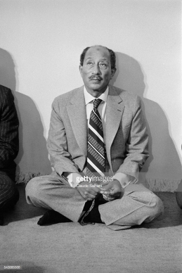 President of the Republic of Egypt Anwar Sadat, come for the inauguration of the new city of Serabium, along the Suez Canal, near Ismailia, attends prayers in the new mosque. | Location: Serabium, Egypt. (Photo by Claude Salhani/Sygma via Getty Images)