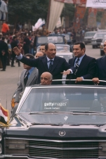 President of the Republic of Egypt Anwar Sadat makes an official visit to Ismailia, where he is triumphantly welcomed with Vice President Hosni Mubarak after having delivered an important speach before the Assembly of the Egyption people on the conflict in the Middle East. (Photo by Claude Salhani/Sygma via Getty Images)